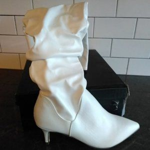 Unilady Shoes - White Pointy Toe Kitten Heeled Boot
